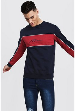 Mens Red Colour Block MAN Signature Sweater