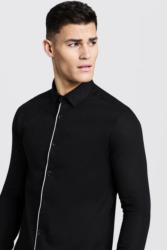 Black Slim Fit Long Sleeve Shirt With Placket Piping