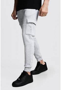 Mens Grey Skinny Fit Panelled Cargo Joggers