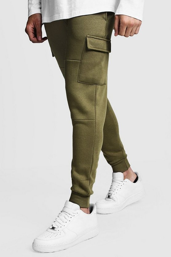 Mens Olive Skinny Fit Panelled Cargo Joggers