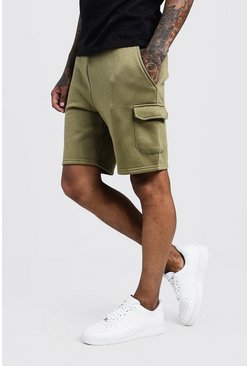 Olive Mid Length Cargo Jersey Shorts