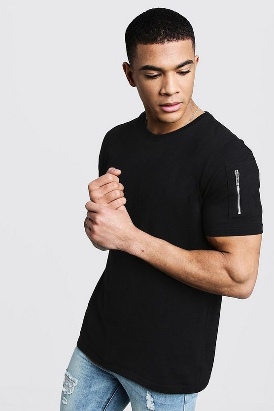 Black Crew Neck T-Shirt With MA1 Pocket
