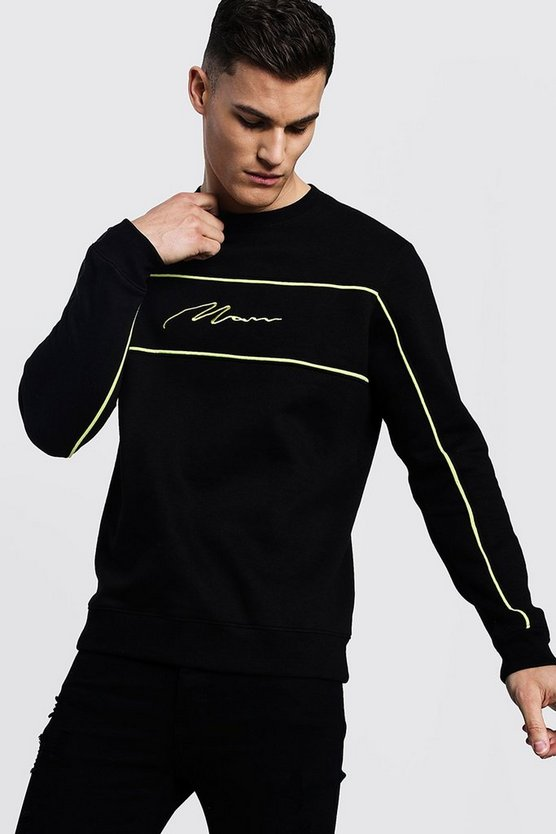 Black MAN Signature Sweater With Lime Piping