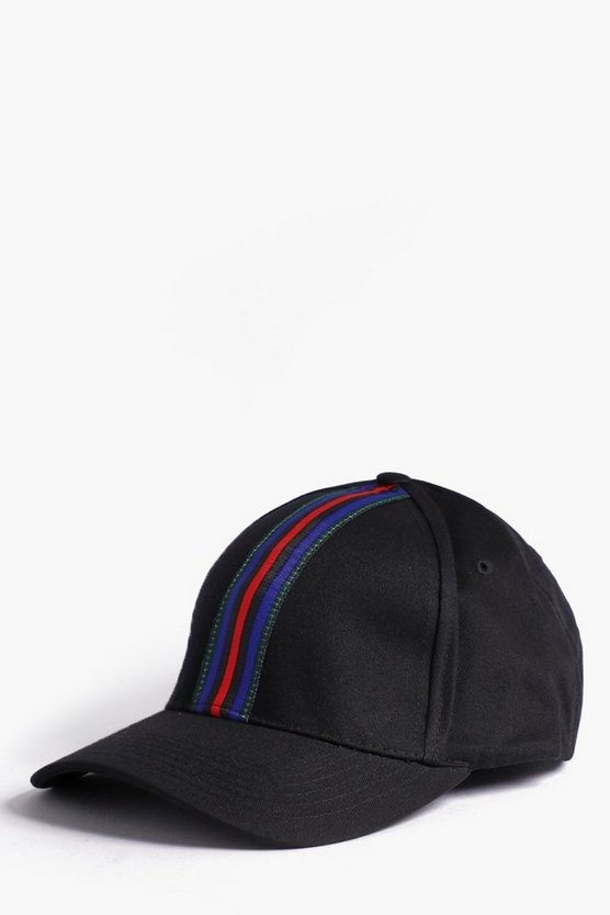 Black Stripe Tape Detail Cap