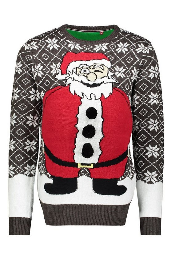 Charcoal Novelty Santa Belly Christmas Sweater