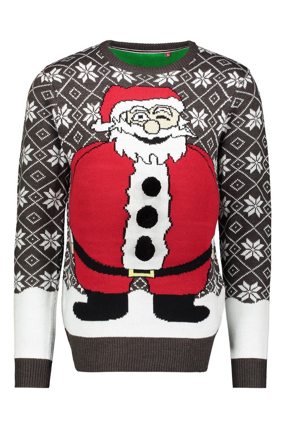 a0bfcc2efd4 Novelty Santa Belly Christmas Jumper - boohooMAN