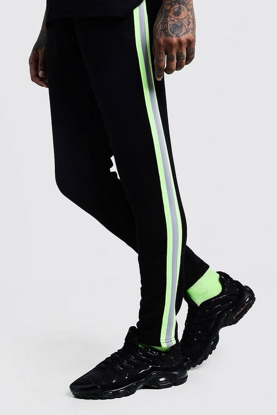 Black Neon Tape Detail Skinny Fit Jersey Joggers