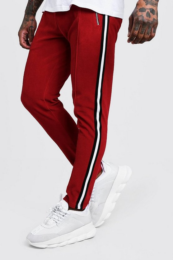 Red Velour Jogger With Side Tape Detail