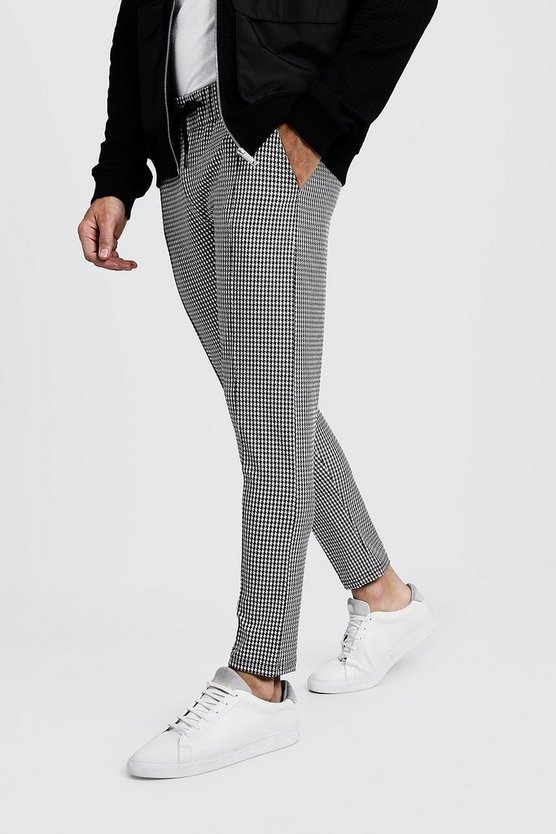 Black Houndstooth Pin Tuck Detail Smart Jogger