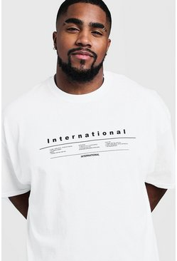 T-shirt imprimé international Grandes tailles, Blanc, Homme