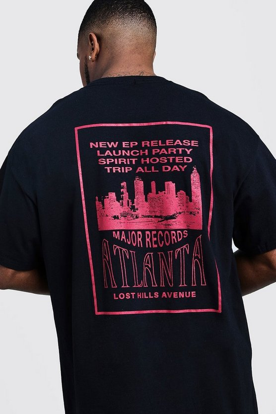 Black Big & Tall 'Major Records' Back Print T-Shirt