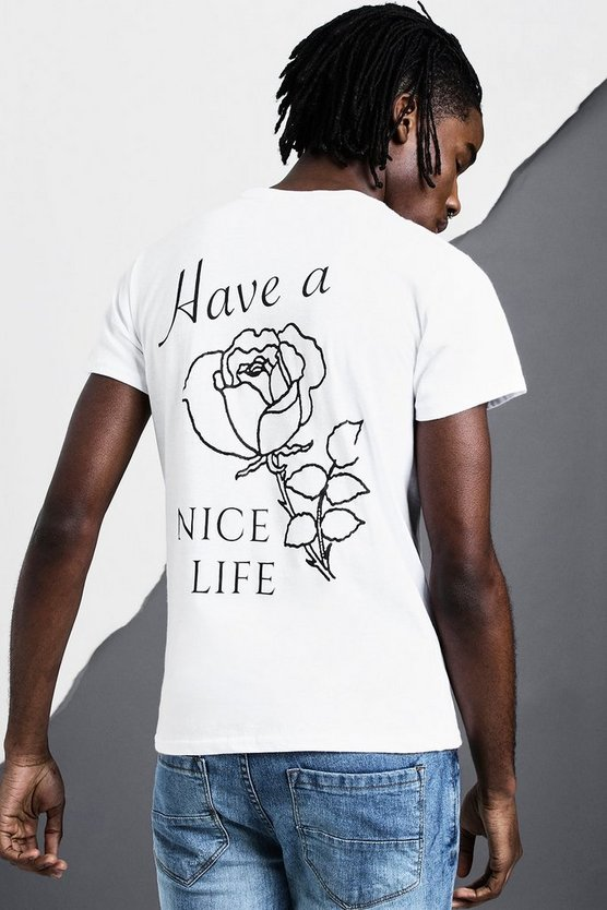 White Have A Nice Life Back Print T-Shirt