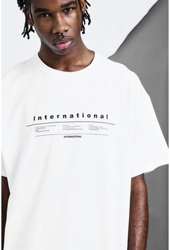T-shirt oversize imprimé International., Blanc, Homme