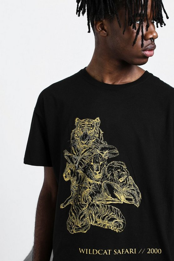 Black Oversized Big Cat Tonal Print T-Shirt