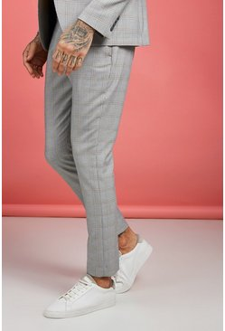 Mens Grey Mustard Vintage Check Smart Pants