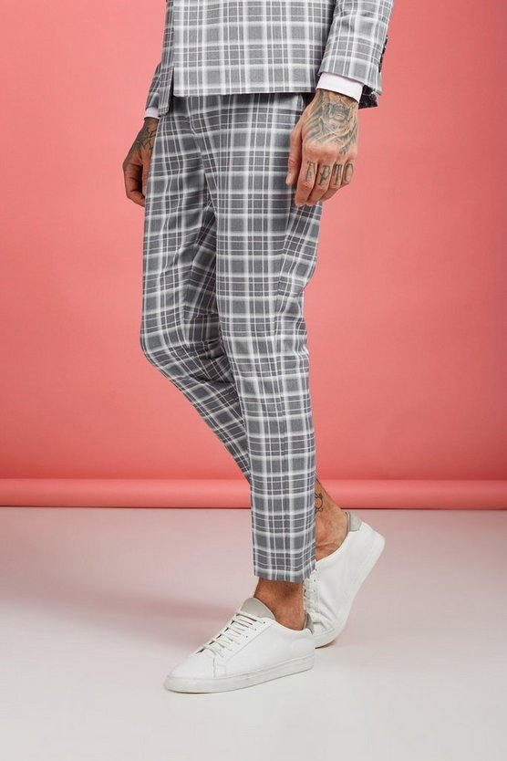 Mens Grey Ice Cream Check Skinny Cropped Pants