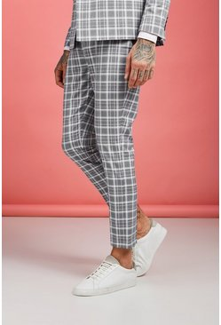 Mens Grey Ice Cream Check Skinny Cropped Trouser
