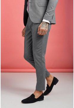 Grey Skinny Wide Stripe Smart Trouser
