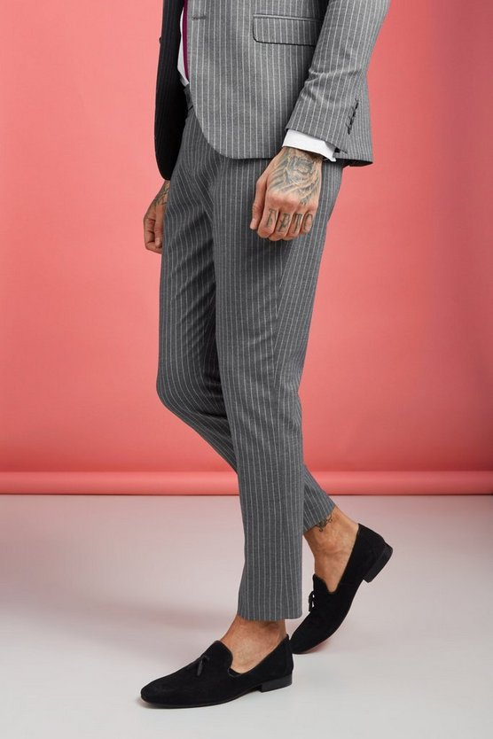 Mens Grey Wide Stripe Smart Trouser