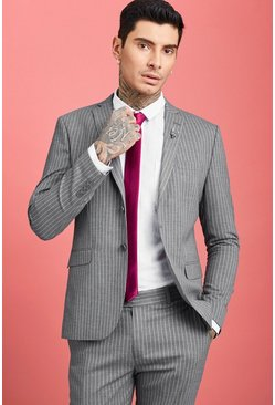 Mens Grey Wide Stripe Skinny Fit Suit Blazer