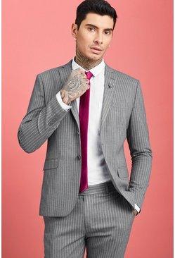 Grey Wide Stripe Skinny Fit Suit Blazer