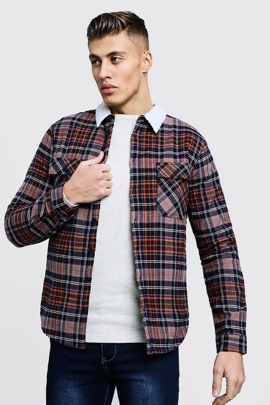 Brown Borg Lined Flannel Check Overshirt