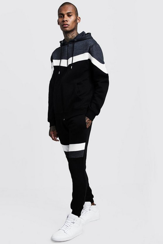 Black Chevron Colour Block Zip Hooded Tracksuit