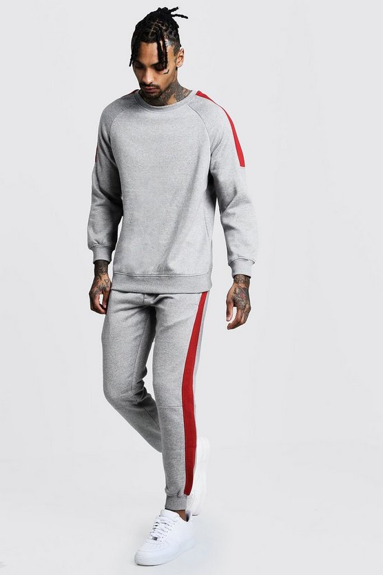 Grey Sweater Tracksuit With Side Panels