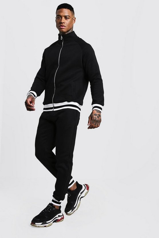 Black Funnel Neck Fleece Tracksuit With Contrast Rib