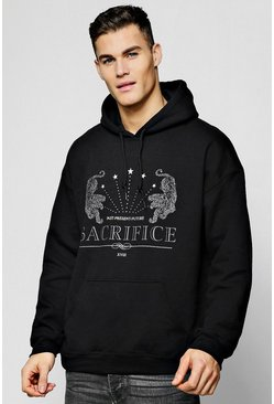 Mens Black Oversized Sacrifice Print Hoodie