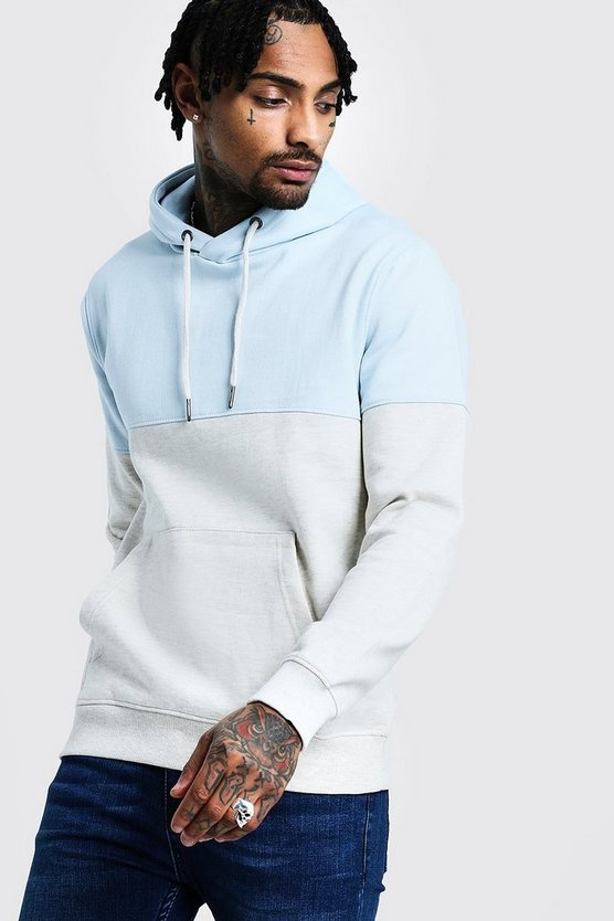 Mens Sky Colour Block Hoodie