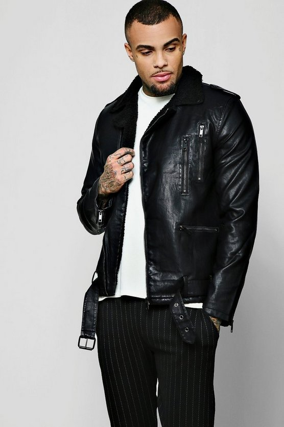 Black PU Biker Jacket