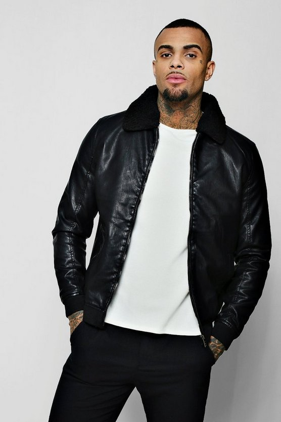 Black PU Trucker Jacket With Borg Collar