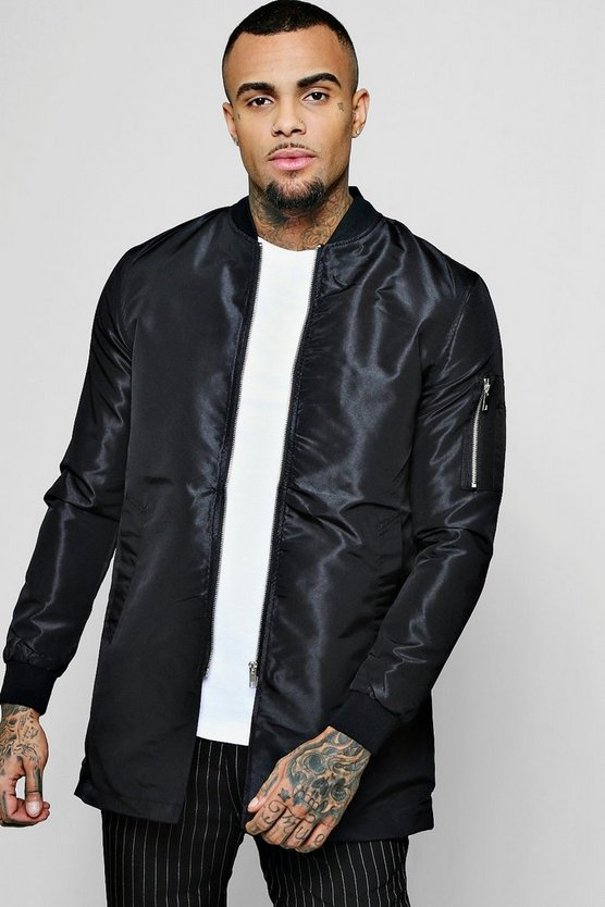 Black Nylon Longline Bomber Neck Jacket
