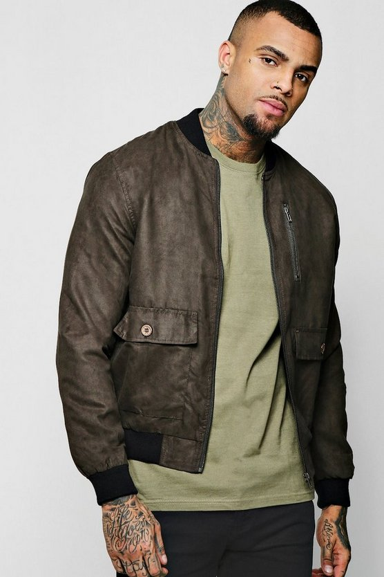 Olive Suedette Utility Bomber