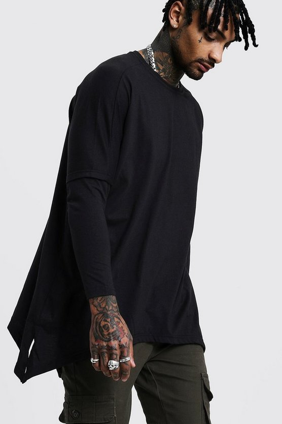 Black Drop Shoulder Faux Layer T-Shirt