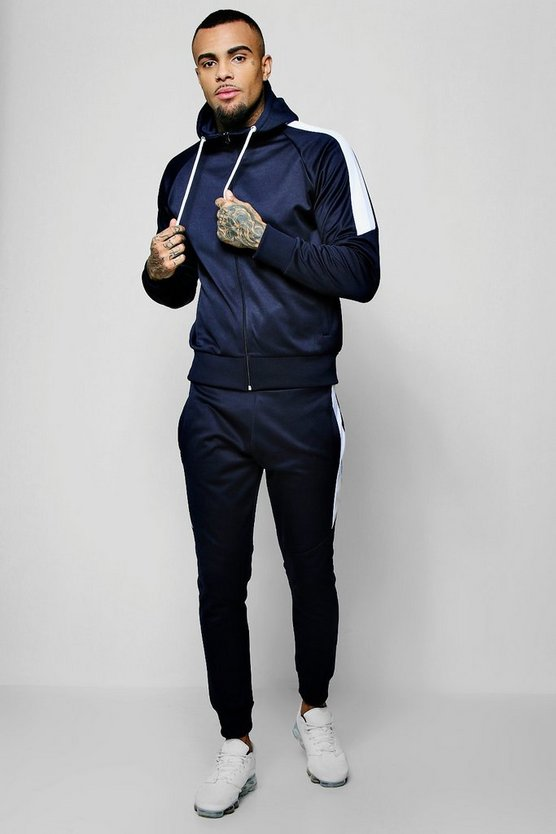 Navy Tricot Zip Through Tracksuit With Contrast Panel