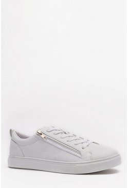 White Lace Up Zip Side Sneakers