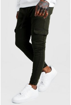 Mens Khaki Skinny Fit Cargo Pants