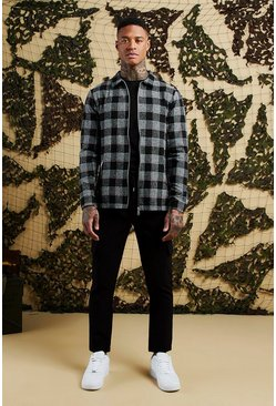 Mens Black Heavyweight Brushed Flannel Check Zip Shacket