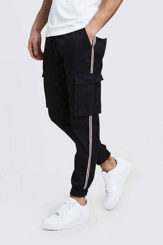Mens Black Cuffed Cargo Pants With Tape