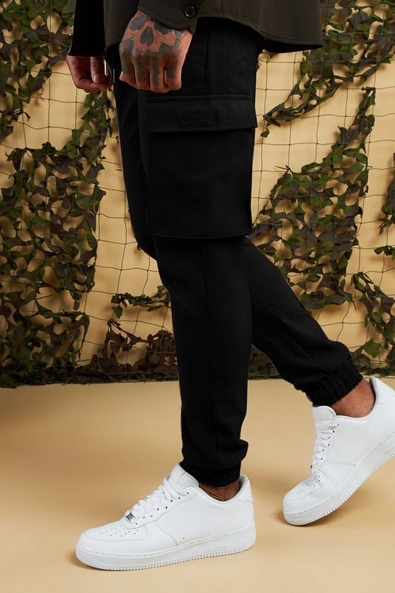 Black Cargo Trousers With Cuff