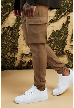 Mens Stone Cargo Pants With Cuff