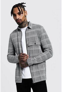 Black Check Jacquard Utility Coach Zip Shirt Jacket