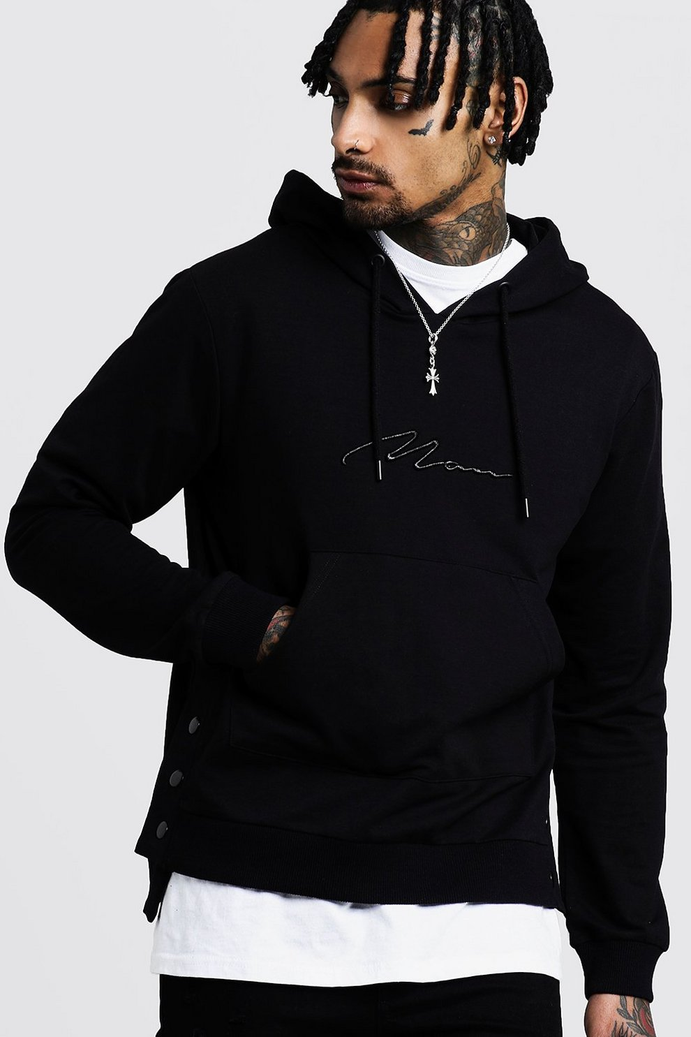 796d8d9468 MAN Embroidered Hoodie With Step Hem - boohooMAN