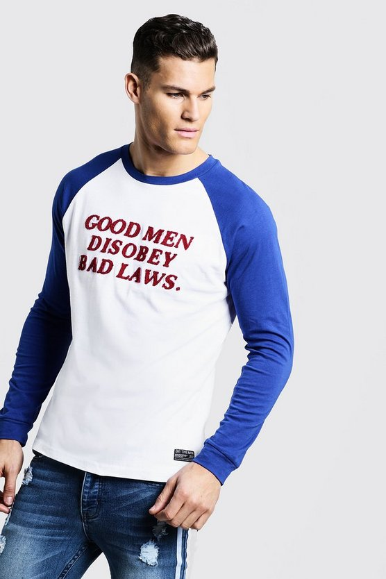 White Long Sleeve Raglan T-Shirt With Towelling Letters
