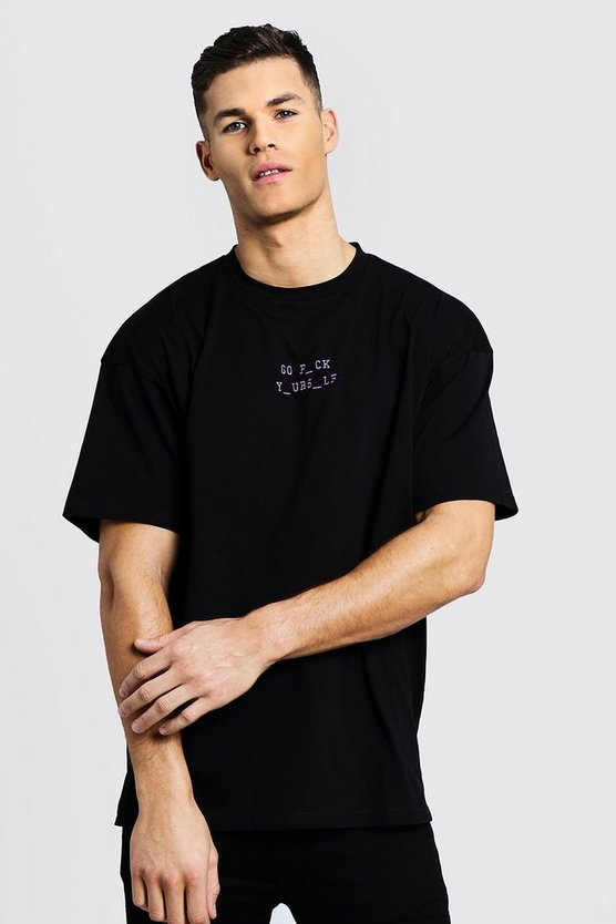Black Oversized T-Shirt With Explicit Slogan