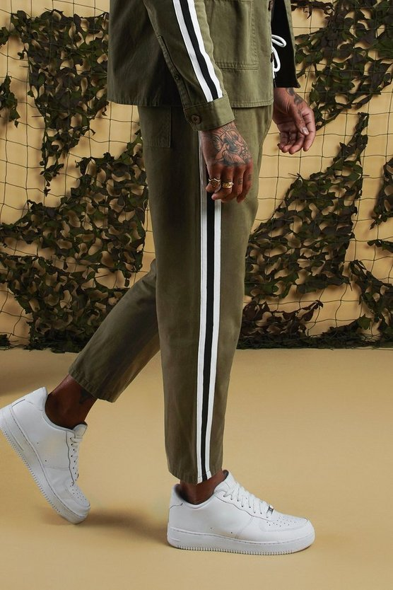 Khaki Jogger Chino With Side Tape
