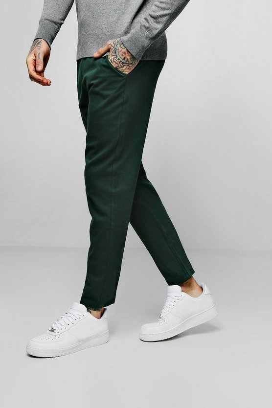 Mens Green Drawcord Waist Slim Fit Chino Trouser