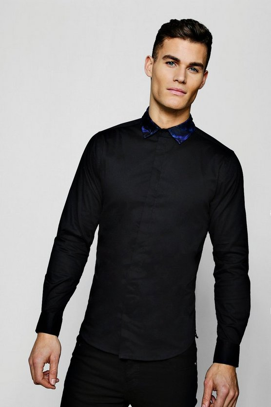 Black Muscle Fit Long Sleeve Shirt With Jacquard Collar